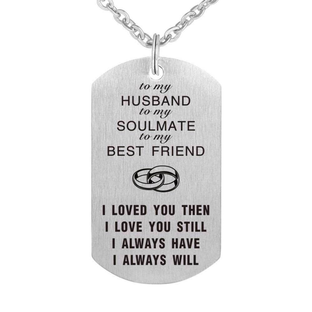 silver statement necklaces stainless husband plain tag necklace dog military steel gold polish wife high gift polished wholesale friendship pendant product personalized
