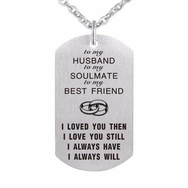 """To My Husband"" Stainless Steel Military Necklace /Keychain  -  Tiny Cupids"