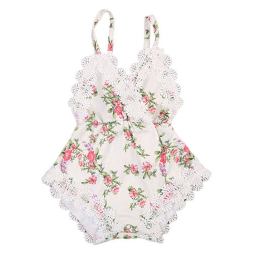 Floral White Lace Romper