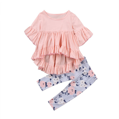 Short Sleeve Ruffles Top + Floral Pants Clothing Set