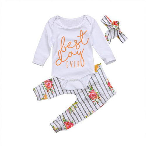 Best Day Ever Floral Bodysuit Set  -  Tiny Cupids