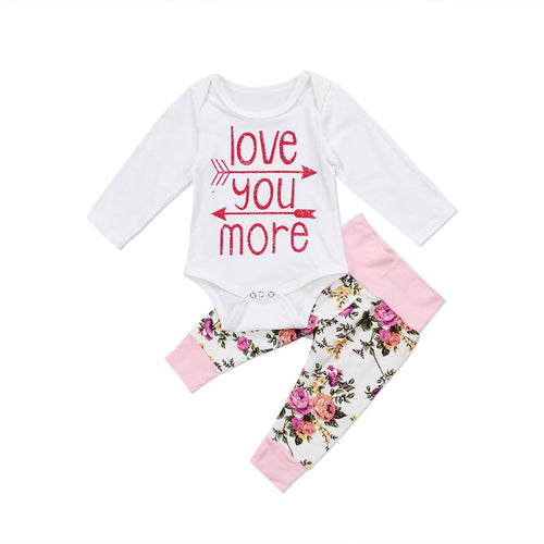 'Love You More' Floral Outfit  -  Tiny Cupids