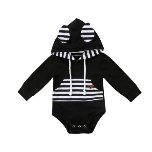 Long Sleeve Striped Hooded Bodysuit
