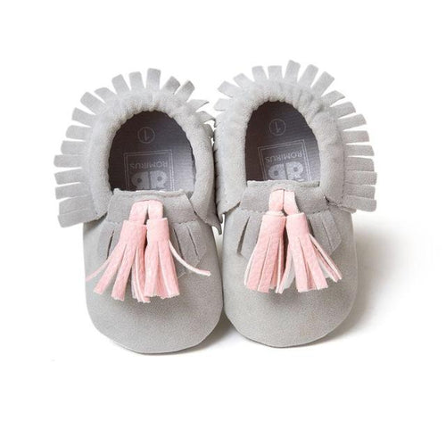 Soft Leather Tassel Moccasin Shoes  -  Tiny Cupids