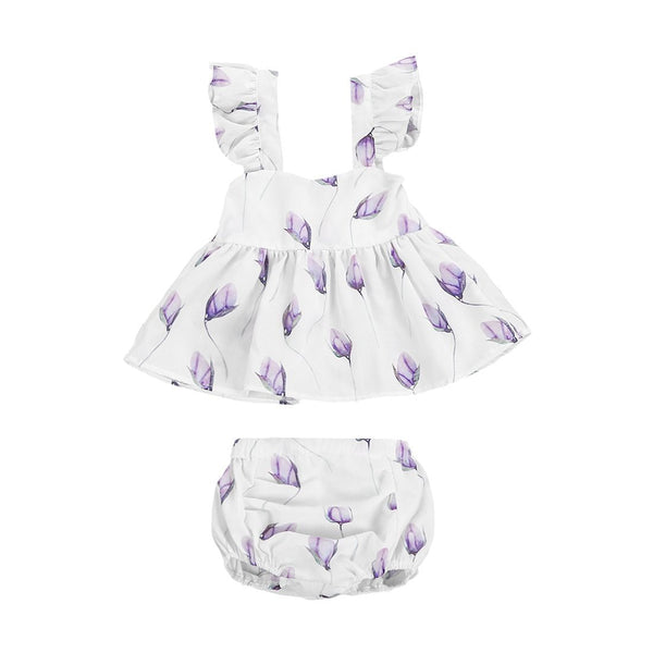Flower Ruffles Romper Set