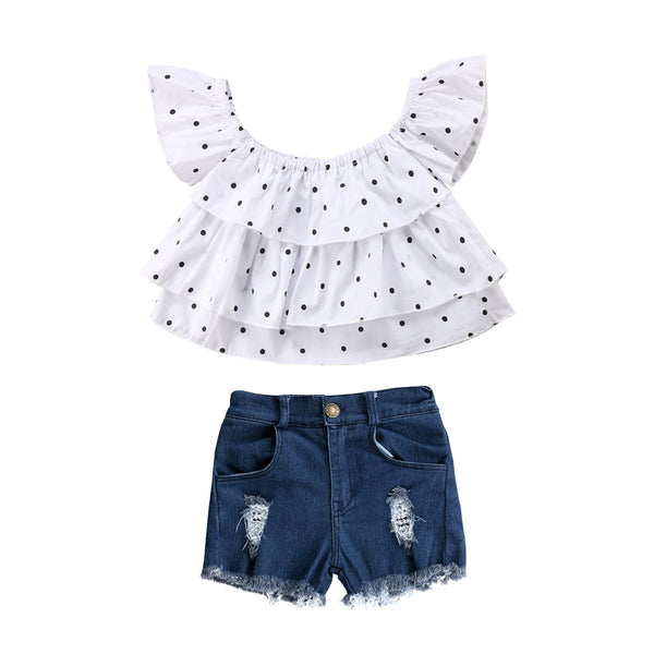 Off Shoulder Polka Dot Tops & Denim Short Outfit
