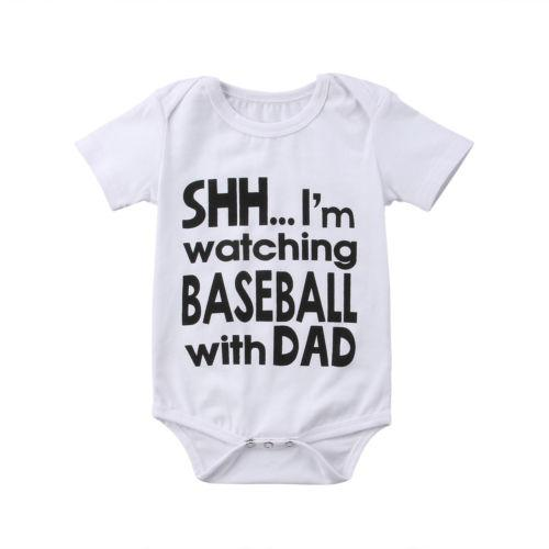 Shh I'm Watching Baseball With Dad Bodysuit