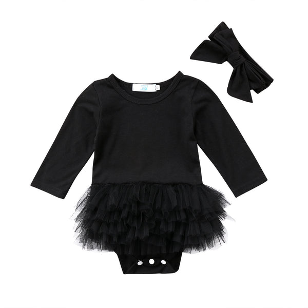 Black Lace Tutu Bodysuit  -  Tiny Cupids