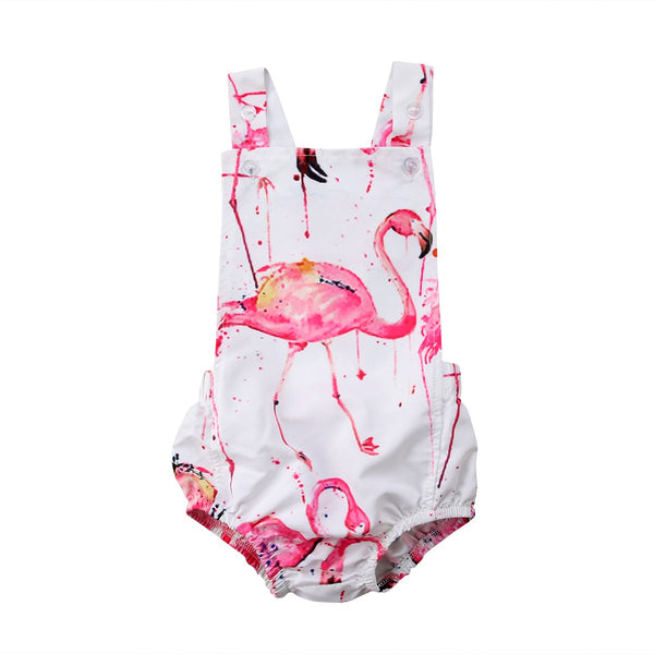 Flamingo Print Sleeveless Romper  -  Tiny Cupids