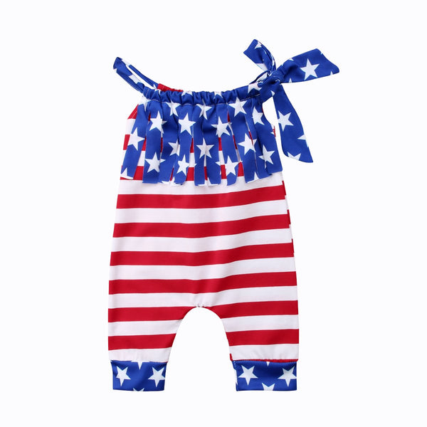 American Flag Tassel Jumpsuit  -  Tiny Cupids