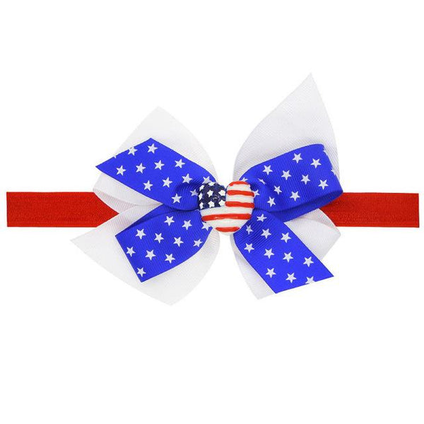 4th Of July Bow Baby Headband Flag - FREE, Just Pay Shipping  -  Tiny Cupids