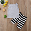 Ice Cream Print Top + Striped Short Clothing Set