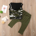 Hooded Camouflage T-shirt and Ripped Pants