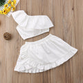 2pcs Off Shoulder Tops + Ruffle Skirt Outfit  -  Tiny Cupids