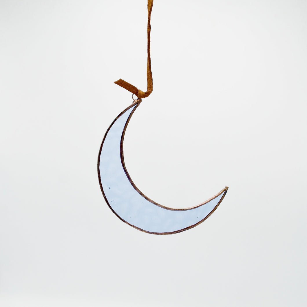 Blue Moon Stained Glass Hanging Ornament