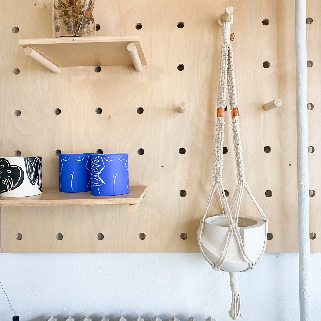 Macrame Plant Hanger With Copper Accent