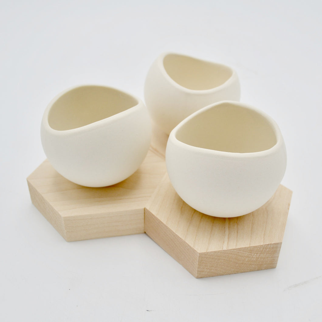 Mini Ceramic Cup With Hexagonal Wooden Stand