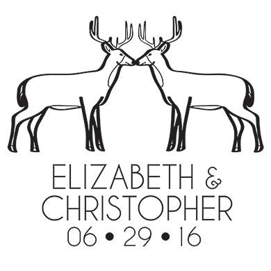 Woodland Style Deer Personalised Rubber Stamp