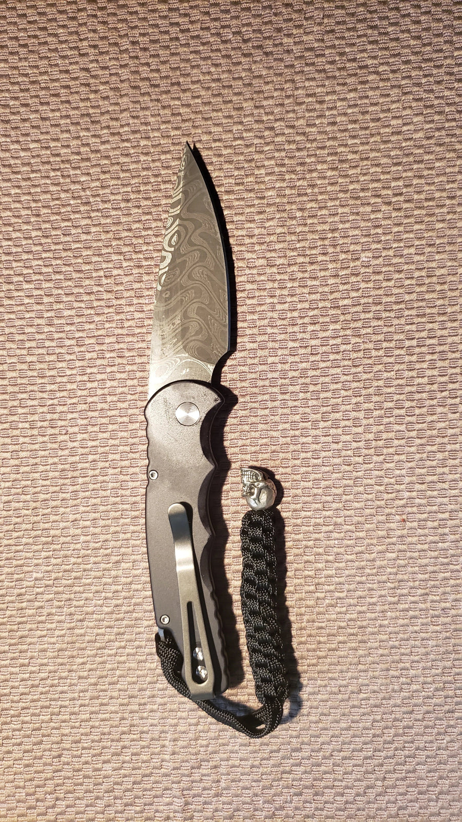 Protech TR-5.7 Skull Damascus Skull Tactical Response Auto Knife
