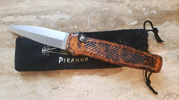 Piranha Prowler Automatic Knife, Orange, Stonewashed P-12O