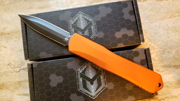Heretic Knives Manticore X OTF Double Action Knife Orange Black