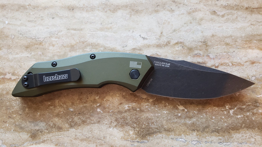 Kershaw Launch 1 Automatic Knife, Olive, Black Wash 7100OLBW