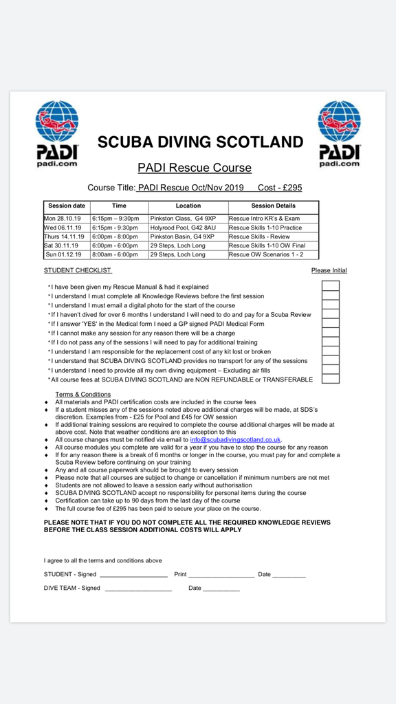PADI Rescue Course - Oct/Nov 2019
