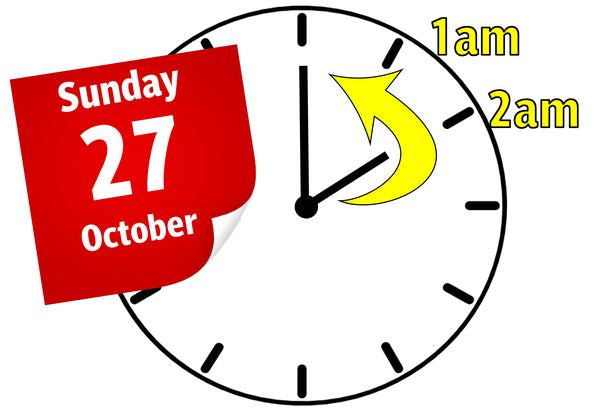 Clocks go back this Sunday 27th October 2019