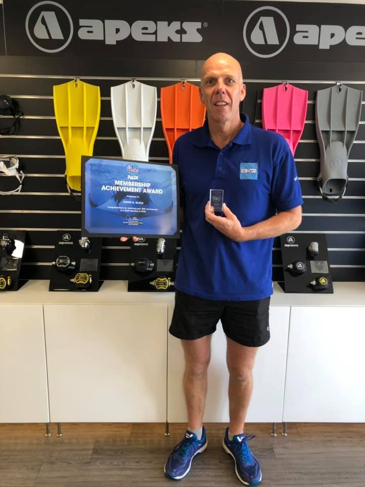 PADI Instructor Dave Black - 20 Years Membership Award