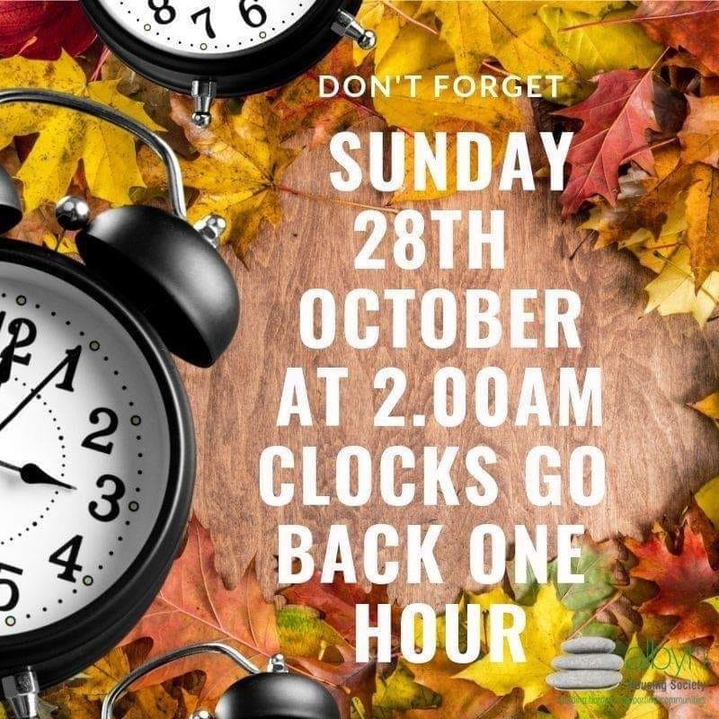 Clocks go back 28th Oct 2018