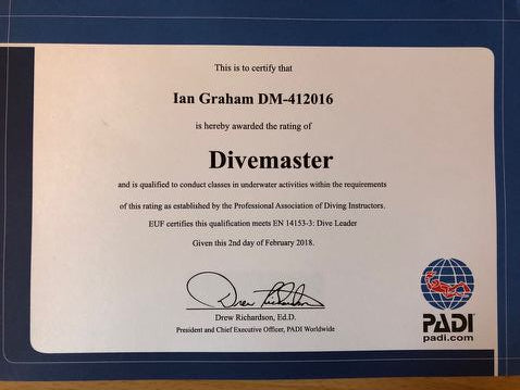 Congratulations to Cheryl Woods and Ian Graham for passing their PADI Divemaster Course!