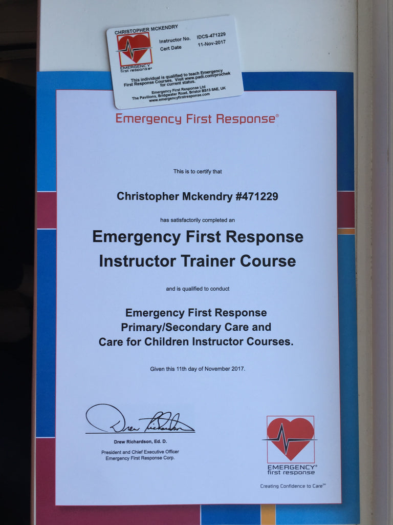 Congratulations to our instructor Chris McKendry for passing his Emergency First Response Instructor Trainer Course!