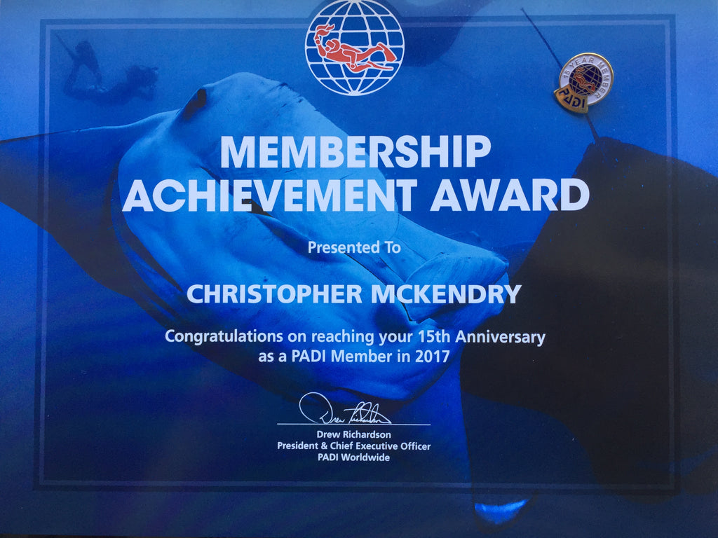 Well done to one of our Dive Team for 15 Years as a PADI Instructor!