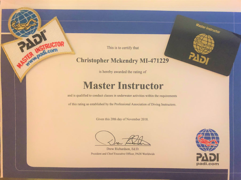 Congratulations to our instructor Chris McKendry for becoming a PADI Master Instructor!