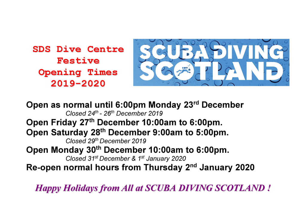 SDS Dive Centre Festive Opening Times 2019-2020