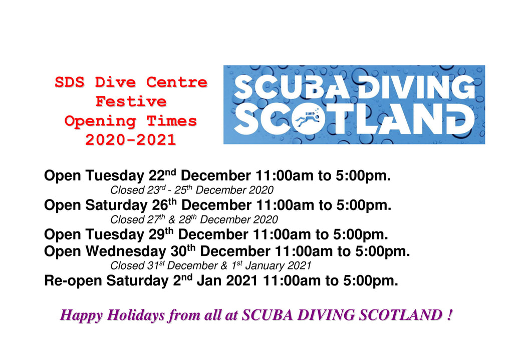 SDS Dive Centre Festive Opening Hours 2020