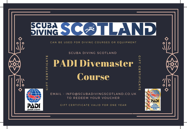 Scuba Diving Scotland Gift Voucher - PADI Divemaster Course