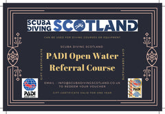 Scuba Diving Scotland Gift Voucher - PADI Open Water Referral Course