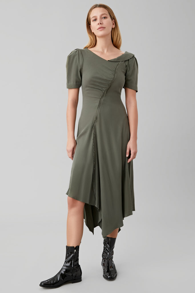 GATHERED TEA DRESS IN OLIVE SILK