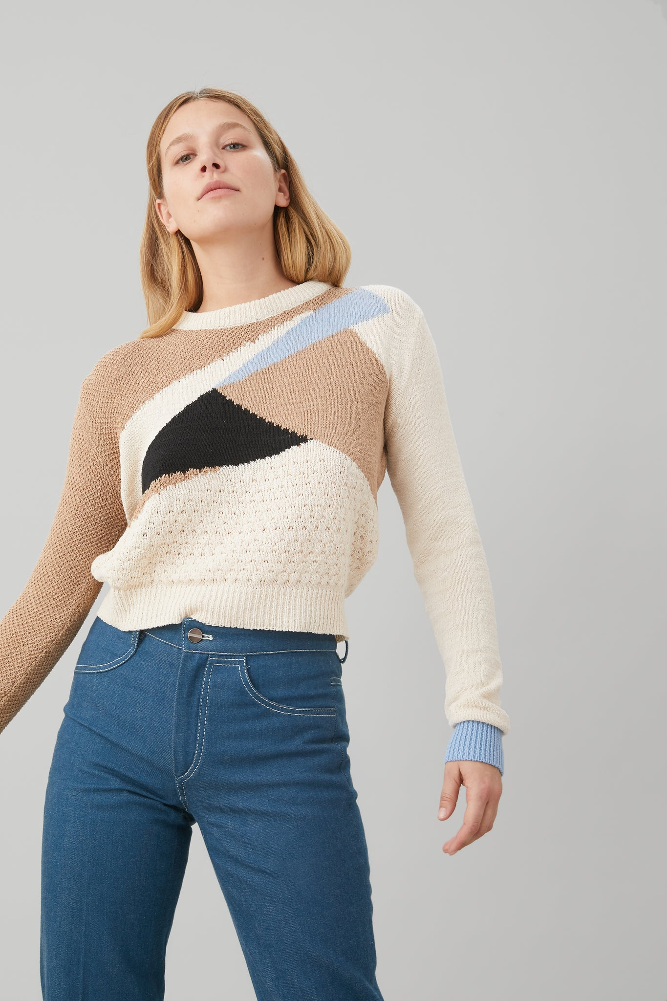 PATCHWORK PULLOVER IN SKY BLUE MERINO