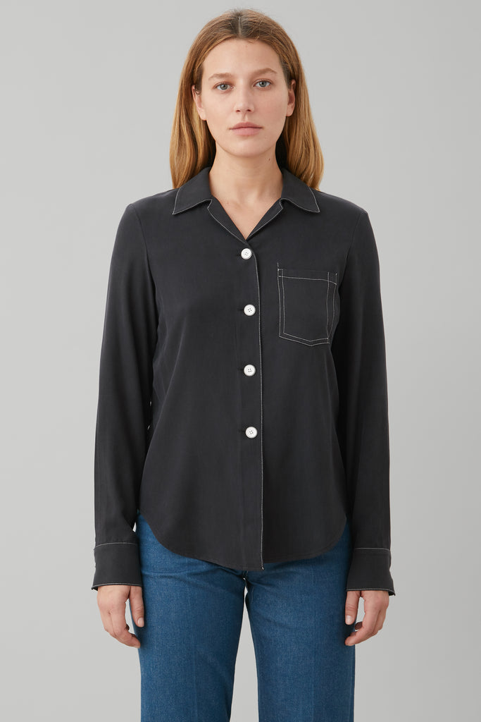 LONG SLV BOWLING SHIRT IN BLACK SILK