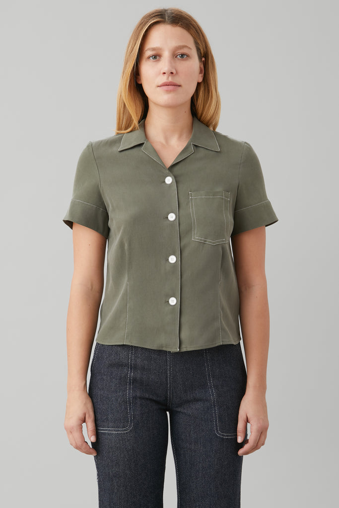 SHORT SLV BOWLING SHIRT IN OLIVE SILK