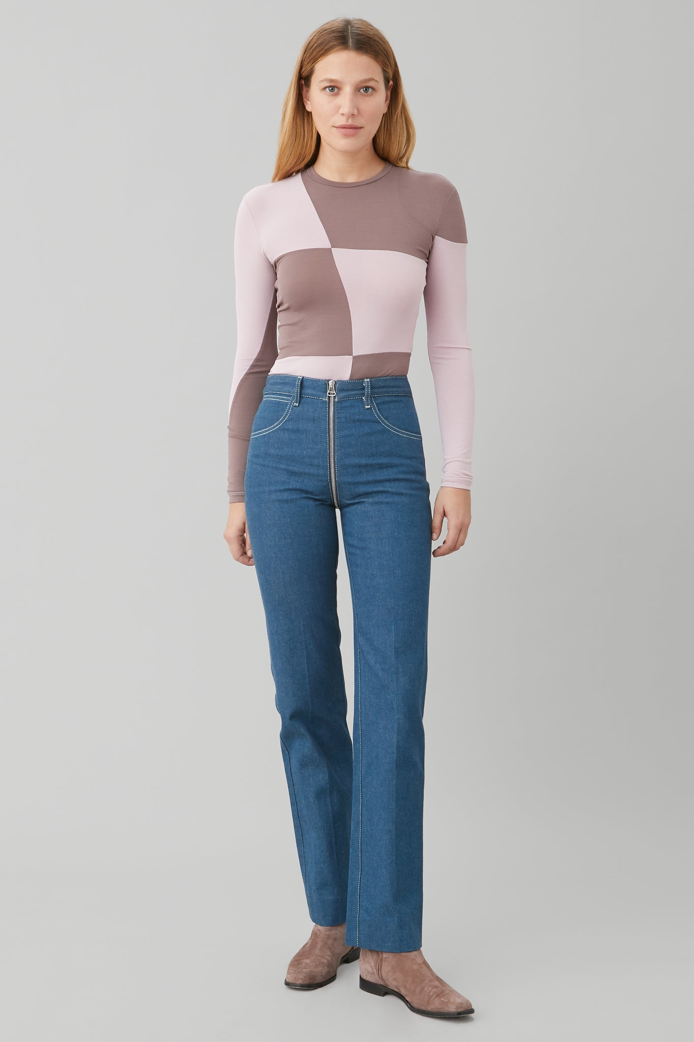 LONG SLV PATCHWORK TOP IN LILAC CREPE