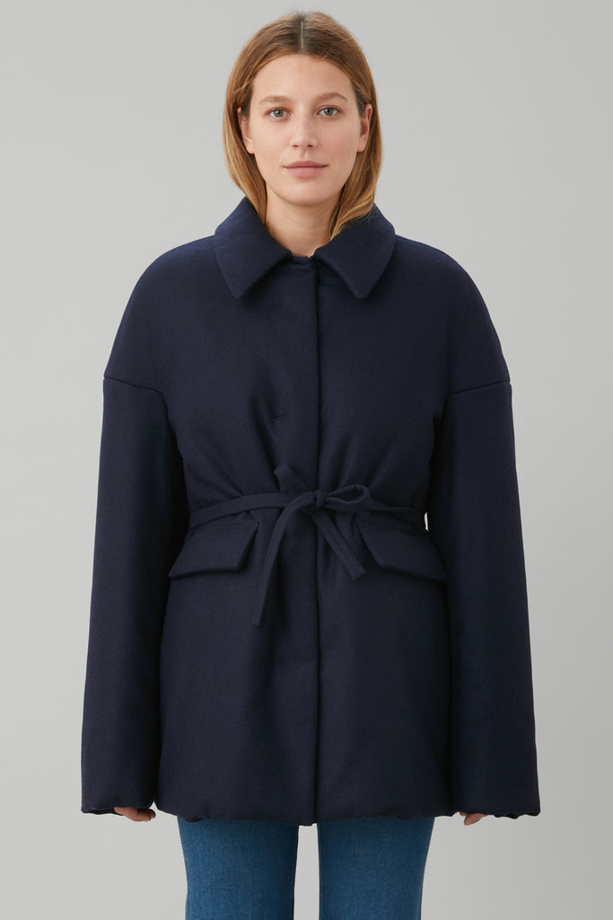 PUFFER COAT IN NAVY FLANNEL