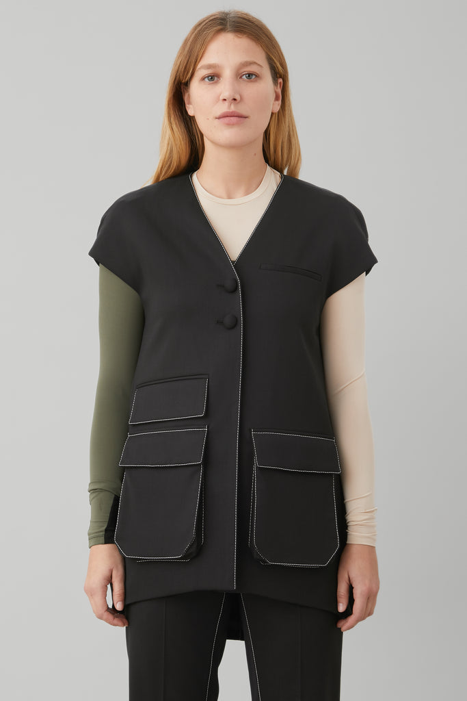 CARGO VEST IN BLACK WOOL