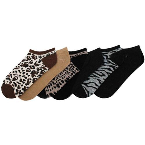 Women's Animal Print No Show Socks 6 Pair