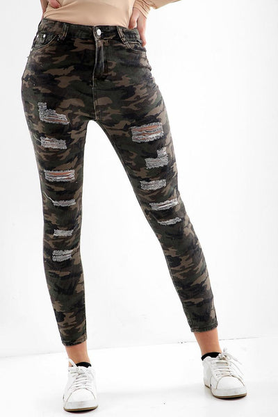 women jeans Distress Detail Low Rise Camo Jeans