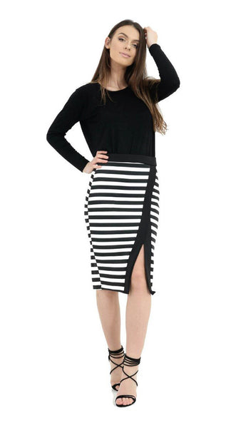 Womens Skirts, Stripe Black and White Scuba Front Split Skirt Bodycon Midi Pencil Skirts, Ladies Shorts Skirts, Dress Fancy Clothing Tulle Line Skirt