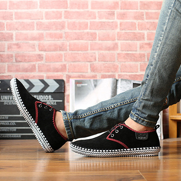 Men Casual Shoes, Non Slip Suede Stitching Soft Sole