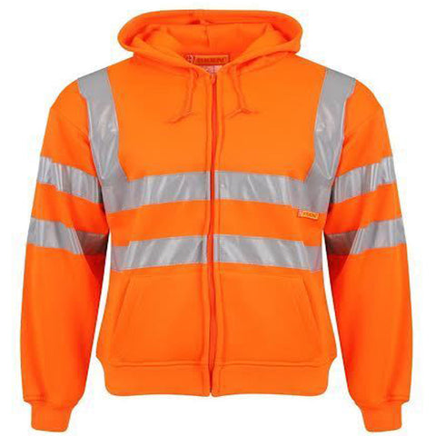 Hi Vis Visibility Work Zip Hooded